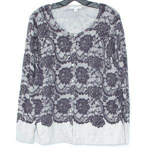 Isaac Mizrahi Cardigan Lace Print Button Up 1X I2